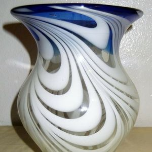 "Glass Swirled Vase 8"" h x 3 3/4"" base"
